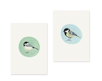 Set of two postcards of birds