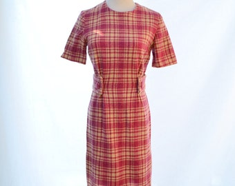 "Wool Pink Plaid Winter Dress // 60s Vintage Dress // MOD Dress //  Size 2 -4 Dress // 27"" Waist Dress // Beige Wool Dress"