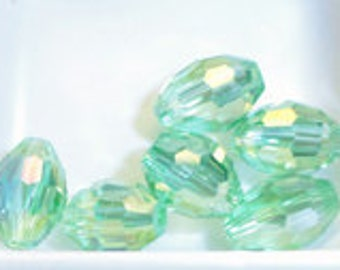 6pc - 8mm Thunder Polish Faceted Light Peridot Green AB 2X Rugby Barrel Spacer Beads