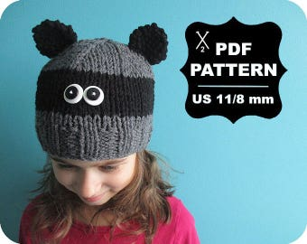 English-French Two Needle KNITTING PATTERN / Digital Download / #58 / Knitted Raccoon Hat / 6-16M to 5 years-Adult / US11 / 8mm