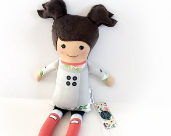 The Puddle Jumper ORGANIC Cotton - Dark Brown Hair Doll | Baby Doll | Cloth Doll Rag Doll