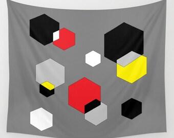 Digital Art Wall Tapestry, Large Wall Art, Modern Tapestry, Geometrical Tapestry, Modern Decor, Pop Decor, Red Black Yellow Grey Hexagon Art