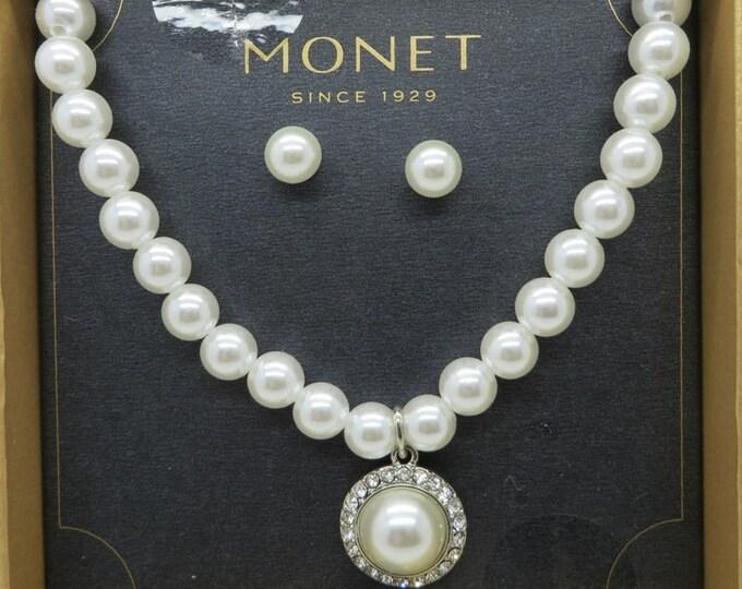Monet Necklace, Earrings - Faux Pearl & Rhinestone Necklace, Pierced Stud Earrings, Jewelry Set