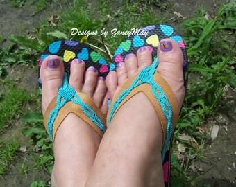 Flippin Fabulous Flip Flops, Macrame Pattern with Leather Straps