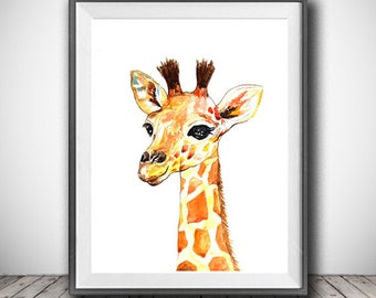Baby Giraffe watercolor painting print - Giraffe art print - Animal art - Giraffe print - Animal watercolor - Animal portrait - Nursery art