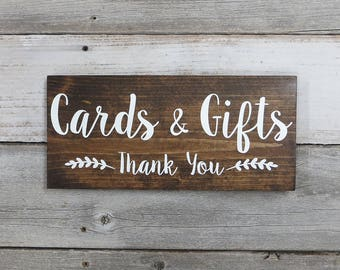 "Rustic Wood Wedding Sign ""Cards & Gifts - Thank You"" - Wedding Decoration - Gift Table Sign - 12""x5.5"" - Dark Walnut or Gray"