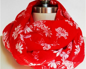 Red and White Rayon Challis Infinity Scarf