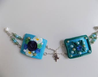 Bracelet with clay polymer and beads