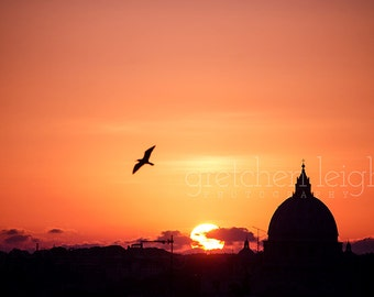 FIRST EDITION Sunset over the Vatican St. Peter's Basilica Rome Italy multiple sizes- catholic, travel, decor, fine art photography,