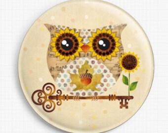 Owl Needle Minder, Licensed Art, Buho Fall Owl, Sandra Vargas, Cross Stitch Keeper, Fridge Magnet