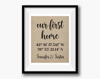 Moving in together etsy our first home wedding gift moving in together latitude longitude linen print negle Choice Image