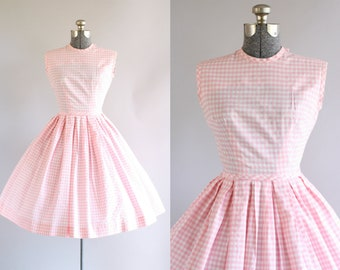 Vintage 1950s Dress / 50s Cotton Dress / ANR Jr. Pink and White Gingham Sun Dress XS