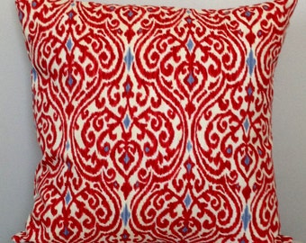 CLEARANCE SALE - Red Ikat Pillow Cover   decorative pillow cover   Red Accent Pillow   Red Throw Pillow   Ikat Pillow  Red Ivory Blue