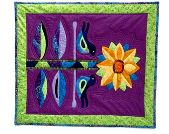 Wall Art Quilt Wall Hanging Sunflower Bluebird Folk Art Batik Purple Gold Blue Lime Green Original Design