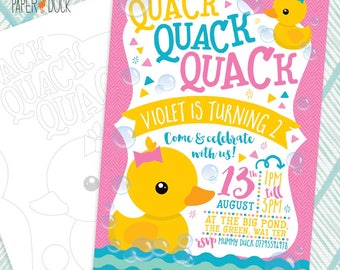5 X Personalised DUCK Birthday Party Invitation Invites Stationary Splash Pink Yellow Triangle
