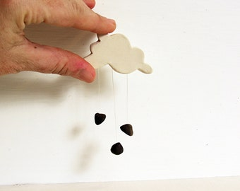 Chocolate Chip Rain Cloud Pin.  Fired Ceramic Cloud Pin Raining Chocolate Morsels.