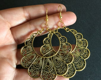 Large vintage style gold earrings - Tribal - Boho - Bohemian - Ethnic - Gypsy - Festival