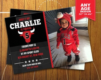 Chicago Bulls Printable Invitation, Basketball Birthday Party, Chicago Bulls Personalized Party Invite, Photo Invitation, sport_11