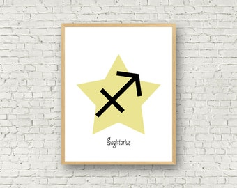 Wall art sagittarius zodiac, sagittarius horoscope, birthday gift, instant download, wall print astrologie, horoscope print, astrological