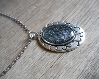 Long silver chain and oval cabochon pendant necklace black ebony and silver mother's day