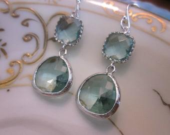 Prasiolite Earrings Silver Light Green Earrings - Sterling Silver Earwires - Bridesmaid Earrings Wedding Earrings Valentines Day Gift