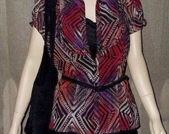 Vintage 90s East 5th 3 Piece Set Black Pink Red Sheer Polyester Geometric Career Casual Womens Short Sleeve Blouse Top Belt