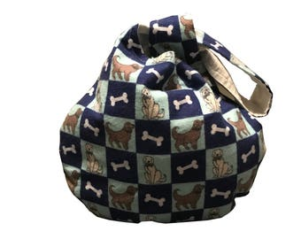 Checkerboard Dogs Project Bag Japanese Knot Bag