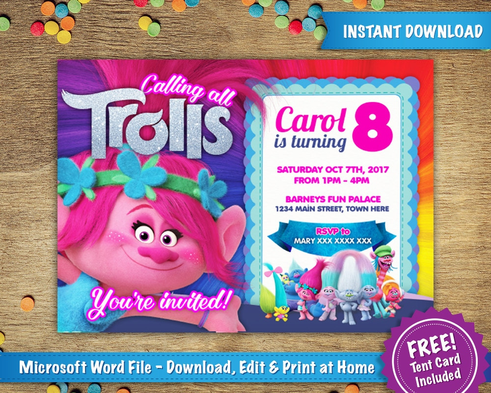 DIY Printable X Trolls Poppy Birthday Party Invitation Template - Birthday invite free template
