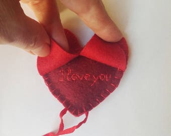Red heart ornament  felt with secret message, I love you, Valentine's day, Mother's day gift,  Birthday gift, Wedding  decor, home decor