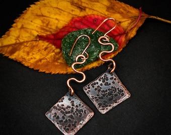 Copper earrings, hammered copper earrings, long earrings, dangle earrings