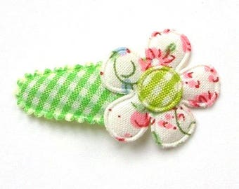 Baby Hair Clip with Blooming Fabric Flower on Green French Vichy