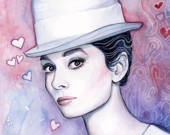 Audrey Hepburn Wall Art Audrey Hepburn Watercolor Painting Fashion Illustration Romantic Fine Art Giclee Print
