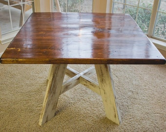 """40"""" x 40"""" Solid Wood, Square Kitchen/Dining Table with Rustic Finish"""