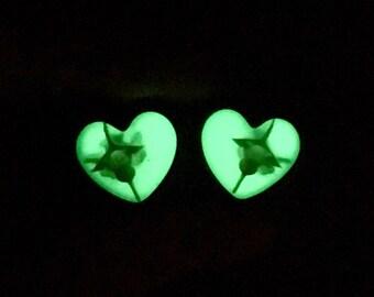 "5/8"" Snake Glow in the Dark Heart Ear Plugs Gauges 16mm, Real Animal Bones Spine Bone Vertebrae Taxidermy Body Jewelry:LOVED EARS by {118}"