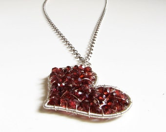 Red heart necklace Valentine day gift for her Silver necklace Garnet pendant necklace January birthstone Red garnet necklace Womens gift