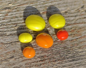 Glass cabochons (6), lampwork cabochon set, small colorful red orange yellow for jewelry making earrings necklaces embroidery handmade art