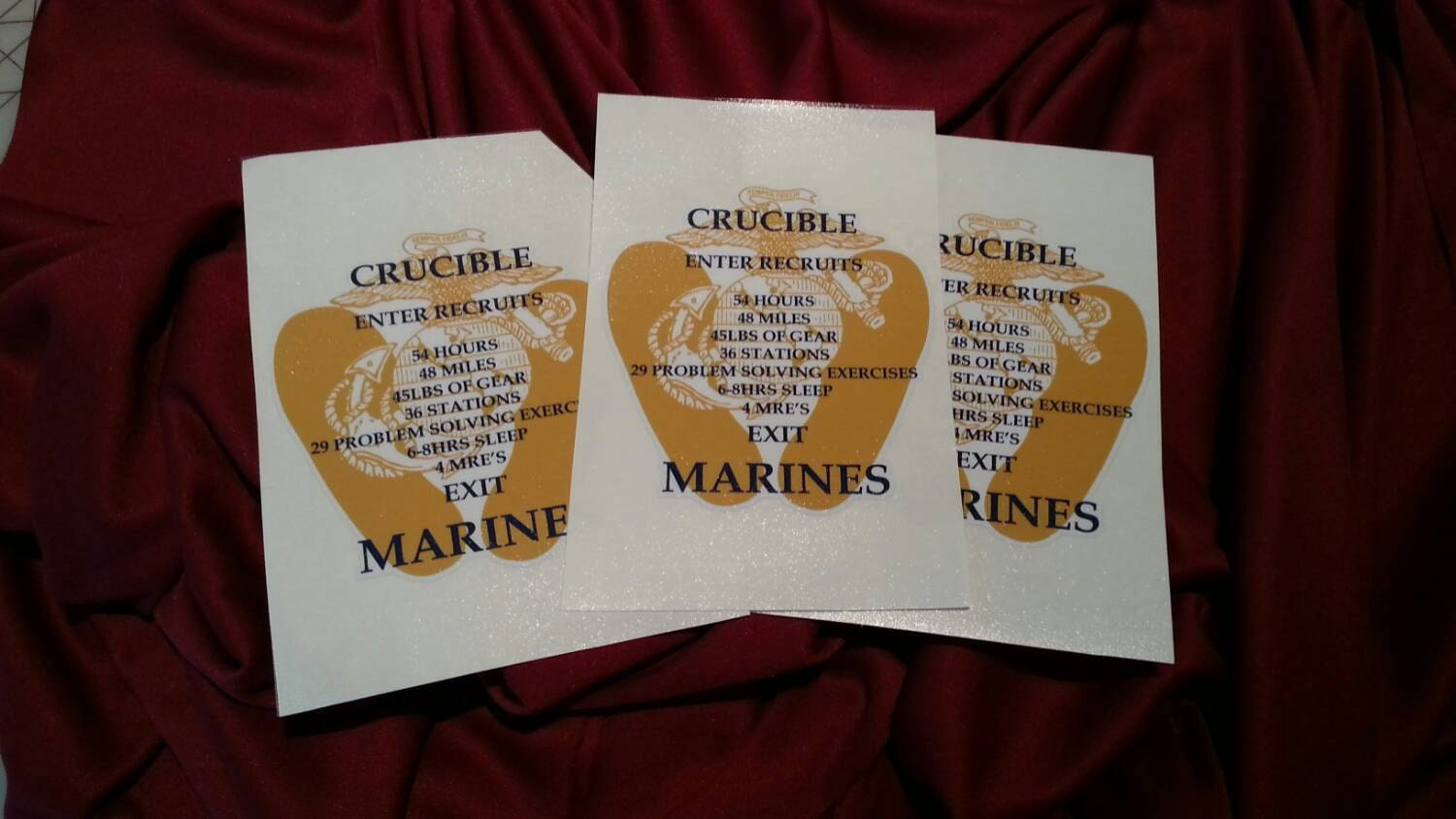 picture about Crucible Candle Printable titled United Says Maritime Corps (USMC) Crucible Candle Decal (RATIONED MREs)