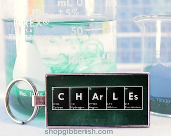Personalized Science Glass Chemistry Keychain - Chemistry, Periodic Table of Elements, Gift Idea