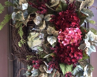 Mothers Day Wreath, Spring Wreath, Hydrangea Wreath, Front Door Wreath, Red Wreath, Grapevine Wreath