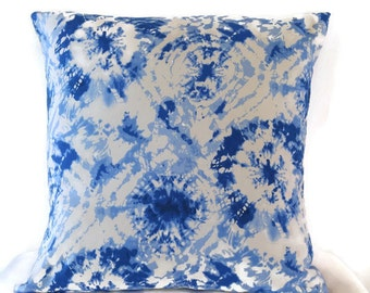 Cobalt Blue Pillow Cover / Blue and White Cushion/ Tie Dyed Look Pillow / Handmade Pillow Cover / Royal Blue and White Accent Pillow