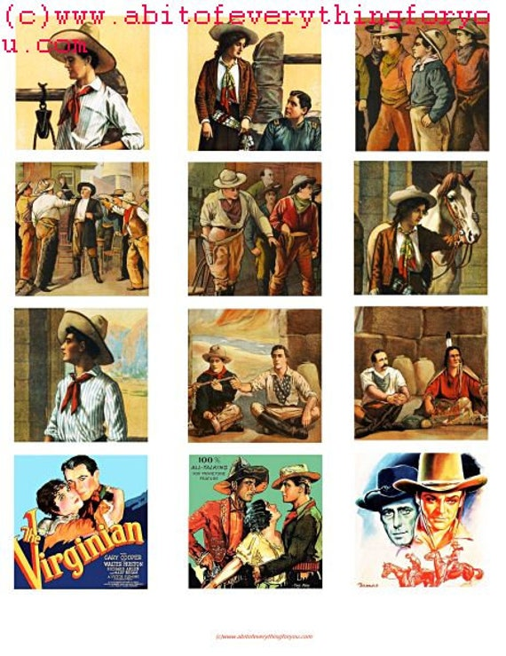 """vintage cowboys cowgirls art collage sheet 2"""" squares clip art digital download graphics images western movie posters art printables"""