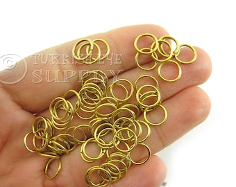 100 Raw Brass 8x0.90mm Jump Rings, JumpRing Connector, Brass Jumpring, Open Jump Rings, Raw Brass Findings