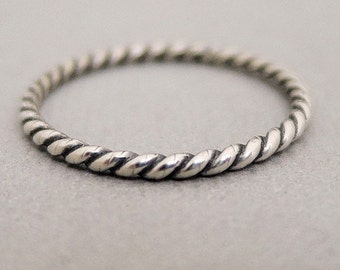 Silver Ring Twist Ring oxidized sterling silver ring midi ring knuckle ring thumb ring stackable rings