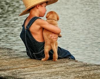 Little Boy & his Puppy