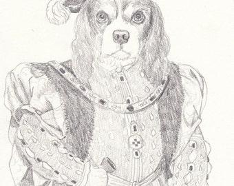 Cavalier King Charles Spaniel Pencil Study, Original Artwork, Dog Art, Dog Portrait