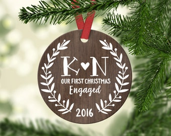 Engagement Gift for Couple Engagement Ornament First Christmas Engaged Ornament Engagement Gift for Her Personalized Wood Rustic Monogram
