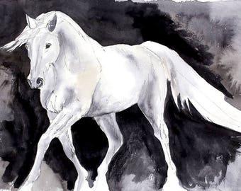 White horse watercolour print