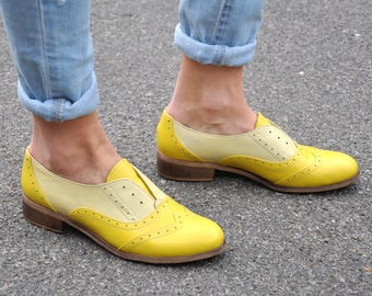 Pershing - Laceless Oxfords, Womens Brogues, Oxfords for Women, Slip on Shoes, Yellow Leather Shoes, FREE customization!!!