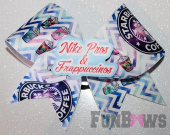 Awesome Starbucks Coffee Frappuccinos Cheer Bow by FunBows ! 3-D center !