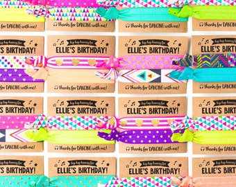 Dance Party Birthday Hair Tie Favors | Hip Hop Dance Party, Custom Birthday Party Hair Tie Favors, Personalized Party Favors for Girls Kids